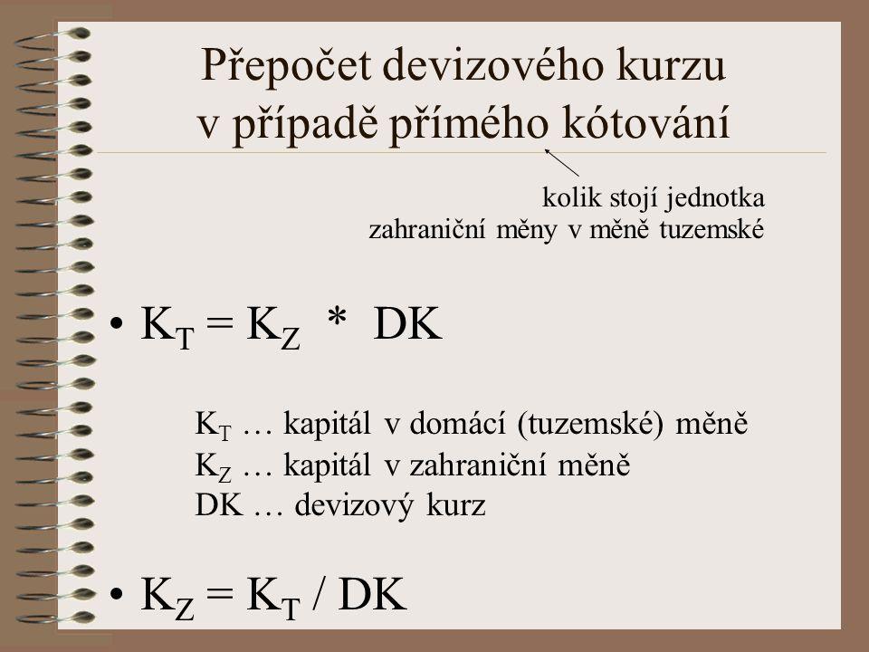 Přepočet devizového kurzu v případě přímého kótování kolik stojí jednotka zahraniční měny v měně tuzemské K T = K Z * DK K T … kapitál v domácí (tuzem