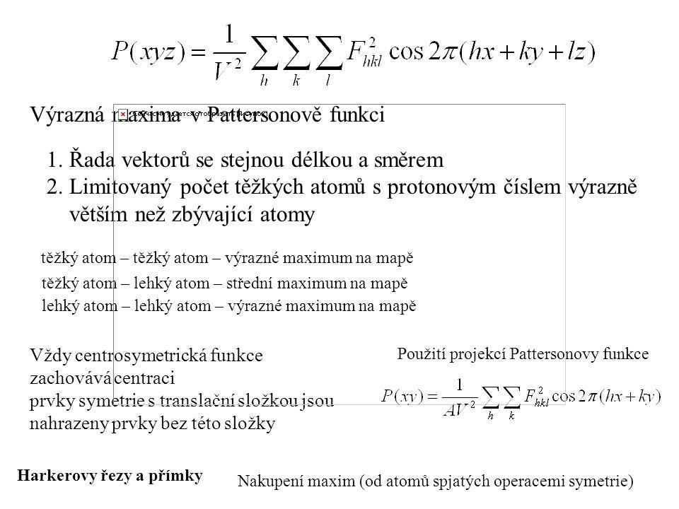 Výrazná maxima v Pattersonově funkci 1. Řada vektorů se stejnou délkou a směrem 2. Limitovaný počet těžkých atomů s protonovým číslem výrazně větším n