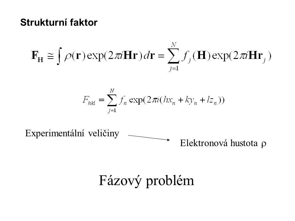 Postup při určování struktury Měřené intenzity korigované na Lp faktor, případně absorpční faktor, určení škály Hodnoty strukturních faktorů přibližně korigované na vliv teplotních kmitů Výpočet normalizovaných strukturních faktorů Statistická analýza v souboru reflexí Hodnoty atomových faktorů pro s = -(1/2)