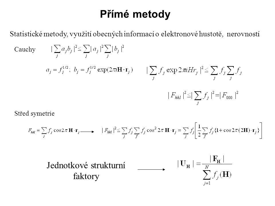 Přímé metody Statistické metody, využití obecných informací o elektronové hustotě, nerovností Cauchy Střed symetrie Jednotkové strukturní faktory