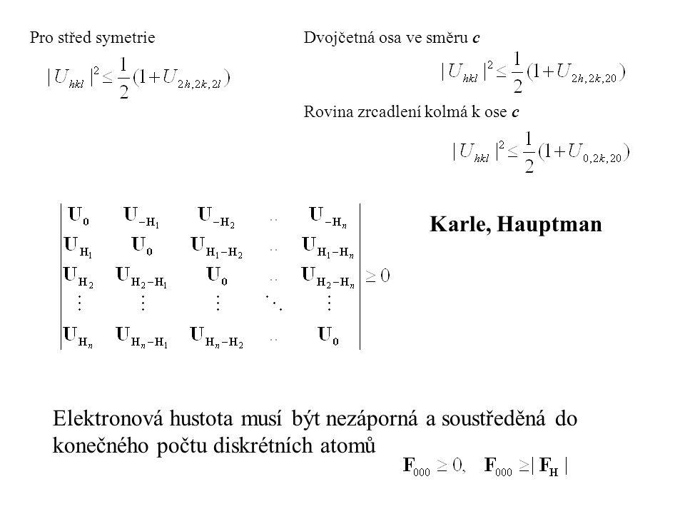 Karle, Hauptman Pro střed symetrieDvojčetná osa ve směru c Elektronová hustota musí být nezáporná a soustředěná do konečného počtu diskrétních atomů R