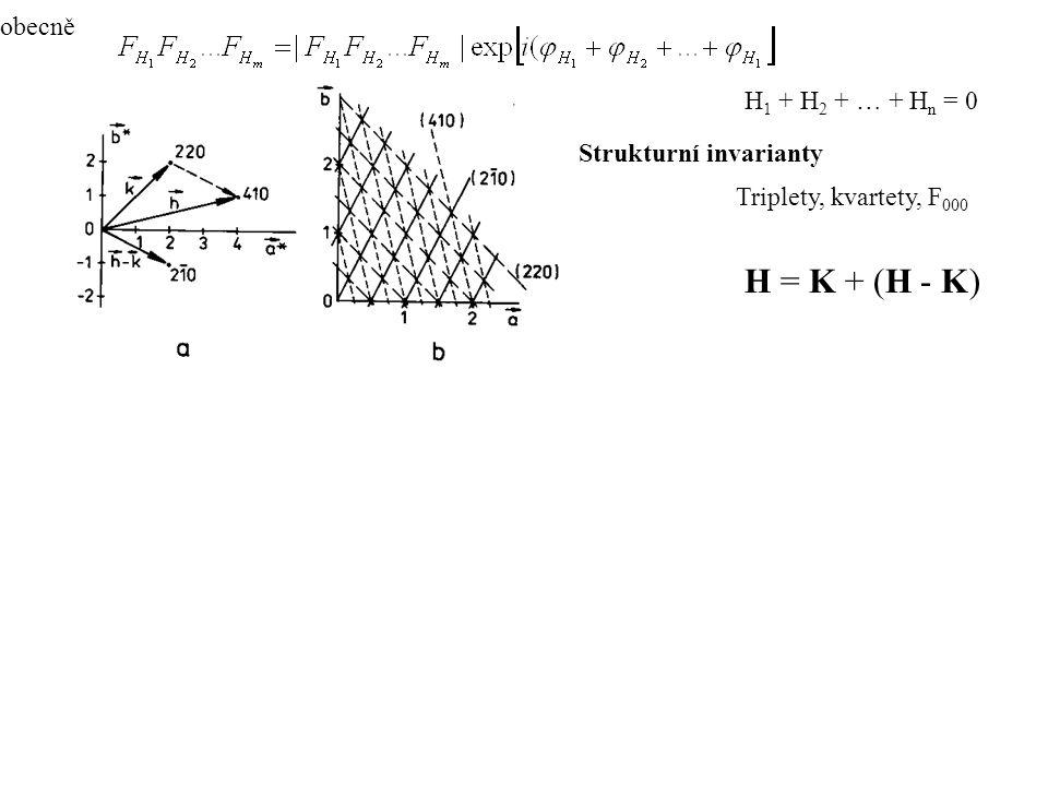 H = K + (H - K) Strukturní invarianty Triplety, kvartety, F 000 obecně H 1 + H 2 + … + H n = 0