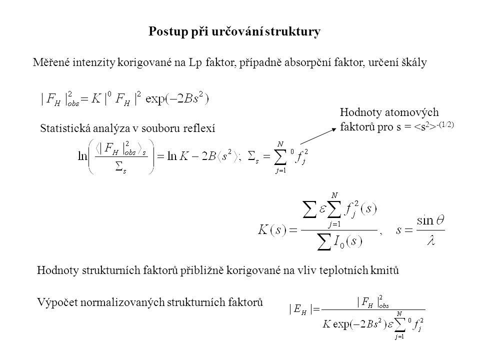 Postup při určování struktury Měřené intenzity korigované na Lp faktor, případně absorpční faktor, určení škály Hodnoty strukturních faktorů přibližně