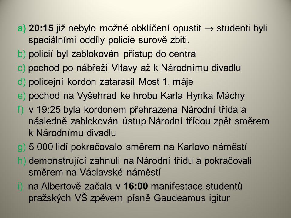 a) 20:15 již nebylo možné obklíčení opustit → studenti byli speciálními oddíly policie surově zbiti. b) policií byl zablokován přístup do centra c) po