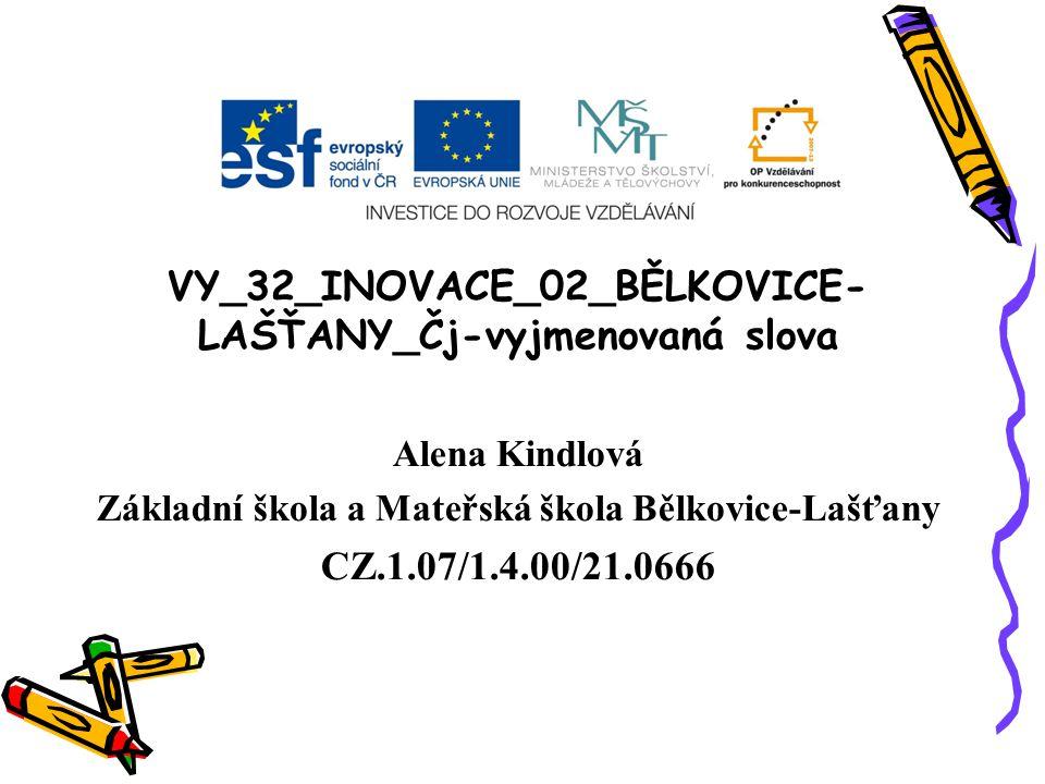 VY_32_INOVACE_02_BĚLKOVICE- LAŠŤANY_Čj-vyjmenovaná slova Alena Kindlová Základní škola a Mateřská škola Bělkovice-Lašťany CZ.1.07/1.4.00/21.0666