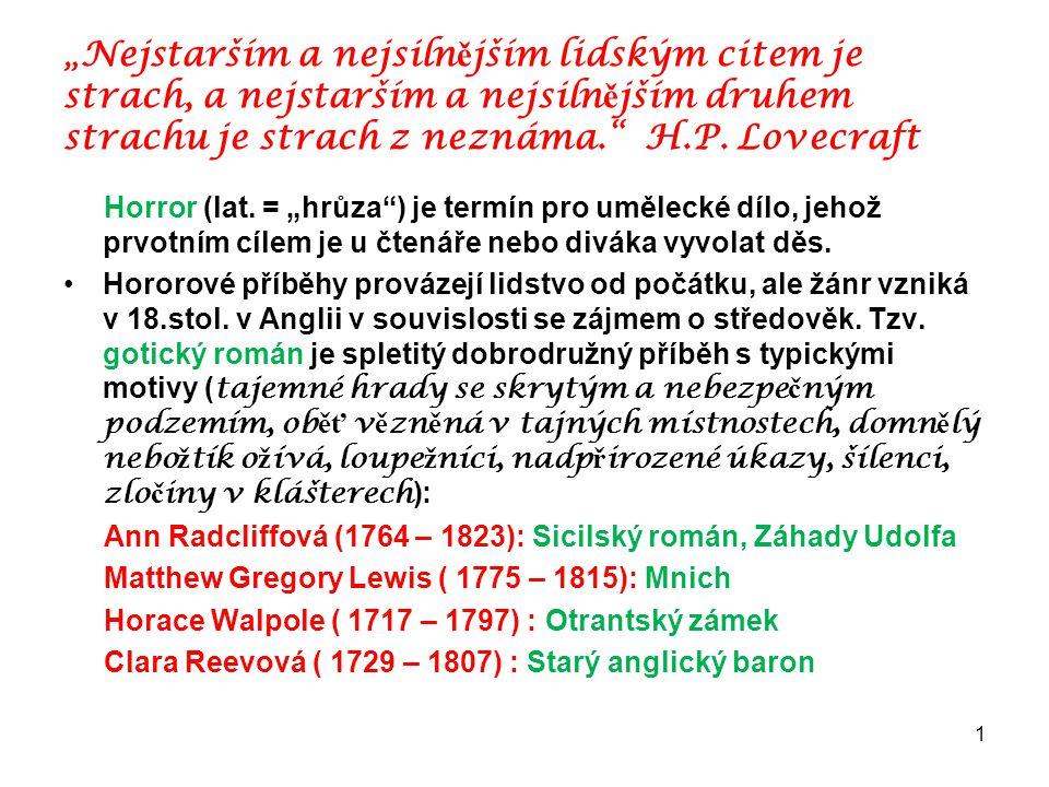 """1 """"Nejstarším a nejsiln ě jším lidským citem je strach, a nejstarším a nejsiln ě jším druhem strachu je strach z neznáma."""" H.P. Lovecraft Horror (lat."""