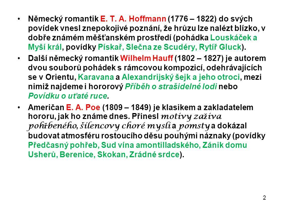 Německý romantik E. T. A. Hoffmann (1776 – 1822) do svých povídek vnesl znepokojivé poznání, že hrůzu lze nalézt blízko, v dobře známém měšťanském pro