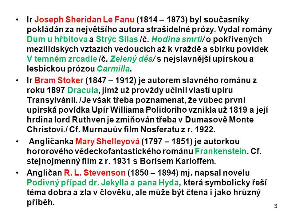Ir Joseph Sheridan Le Fanu (1814 – 1873) byl současníky pokládán za největšího autora strašidelné prózy. Vydal romány Dům u hřbitova a Strýc Silas /č.