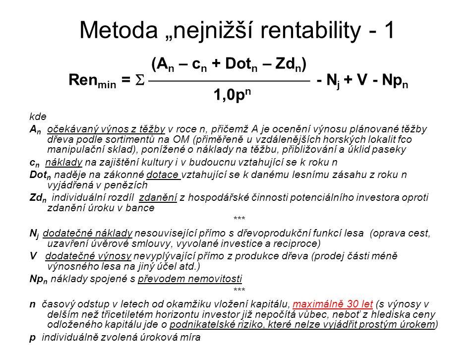 "Metoda ""nejnižší rentability - 1 (A n – c n + Dot n – Zd n ) Ren min =   - N j + V - Np n 1,0p n kde A n očekávaný výnos z těžby v roce n,"