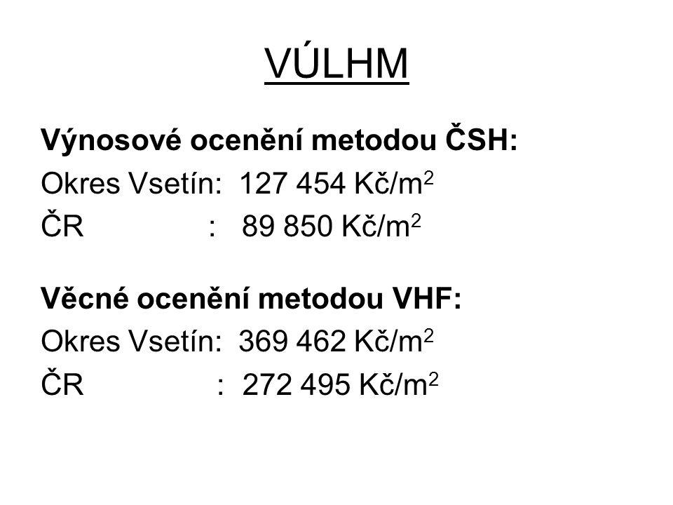 VÚLHM Výnosové ocenění metodou ČSH: Okres Vsetín: 127 454 Kč/m 2 ČR : 89 850 Kč/m 2 Věcné ocenění metodou VHF: Okres Vsetín: 369 462 Kč/m 2 ČR :272 49