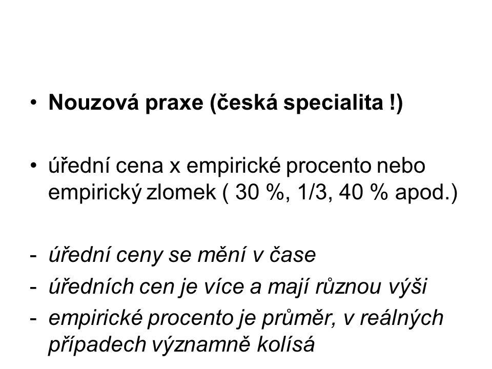 Nouzová praxe (česká specialita !) úřední cena x empirické procento nebo empirický zlomek ( 30 %, 1/3, 40 % apod.) -úřední ceny se mění v čase -úřední