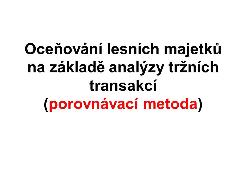 Oceňování lesních majetků na základě analýzy tržních transakcí (porovnávací metoda)
