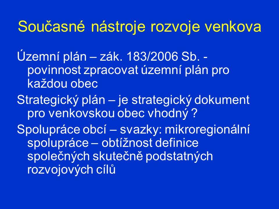 Současné nástroje rozvoje venkova Územní plán – zák.