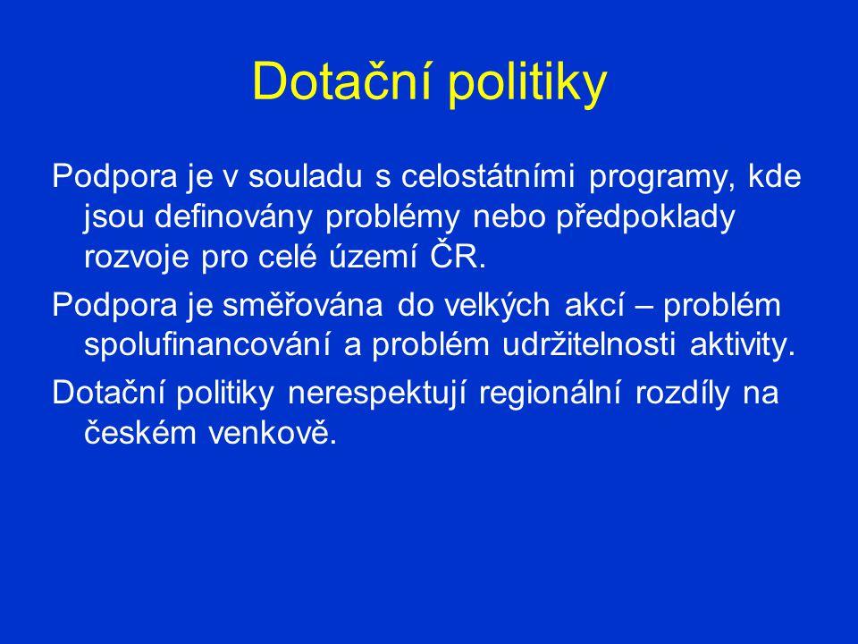 Dotační politiky Podpora je v souladu s celostátními programy, kde jsou definovány problémy nebo předpoklady rozvoje pro celé území ČR.