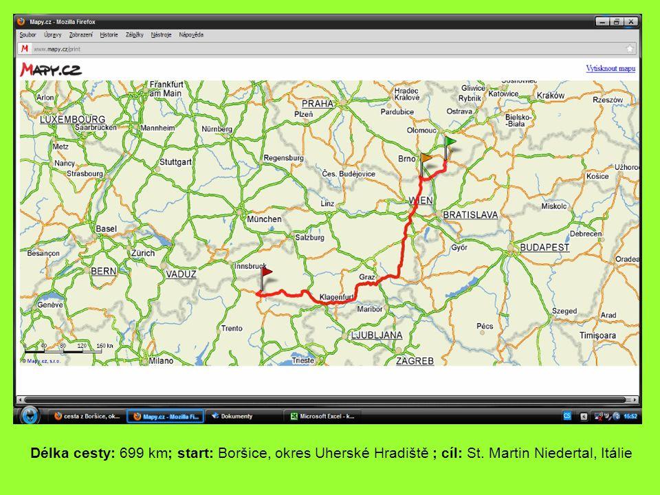 Délka cesty: 699 km; start: Boršice, okres Uherské Hradiště ; cíl: St. Martin Niedertal, Itálie
