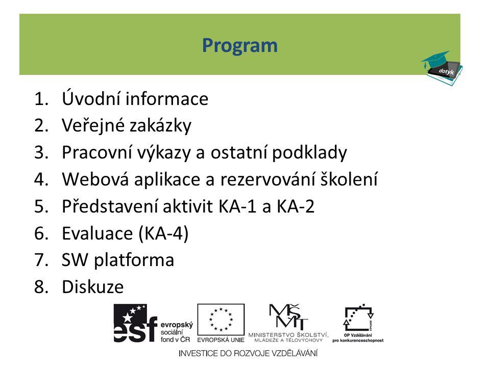 Program 1.Úvodní informace 2.Veřejné zakázky 3.Pracovní výkazy a ostatní podklady 4.Webová aplikace a rezervování školení 5.Představení aktivit KA-1 a KA-2 6.Evaluace (KA-4) 7.SW platforma 8.Diskuze
