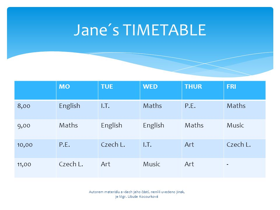 Jane: 1) On ___________ we have got Maths at ___________.