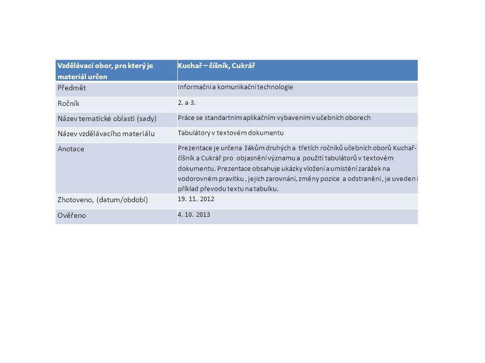 Vzdělávací obor, pro který je materiál určen Kuchař – číšník, Cukrář Předmět Informační a komunikační technologie Ročník 2. a 3. Název tematické oblas