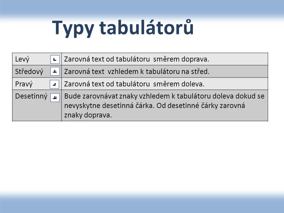 Typy tabulátorů LevýZarovná text od tabulátoru směrem doprava. StředovýZarovná text vzhledem k tabulátoru na střed. PravýZarovná text od tabulátoru sm