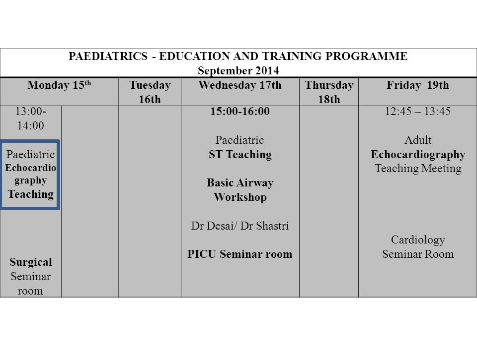 13:00- 14:00 Paediatric Echocardio graphy Teaching Surgical Seminar room 15:00-16:00 Paediatric ST Teaching Basic Airway Workshop Dr Desai/ Dr Shastri PICU Seminar room 12:45 – 13:45 Adult Echocardiography Teaching Meeting Cardiology Seminar Room PAEDIATRICS - EDUCATION AND TRAINING PROGRAMME September 2014 Monday 15 th Tuesday 16th Wednesday 17thThursday 18th Friday 19th