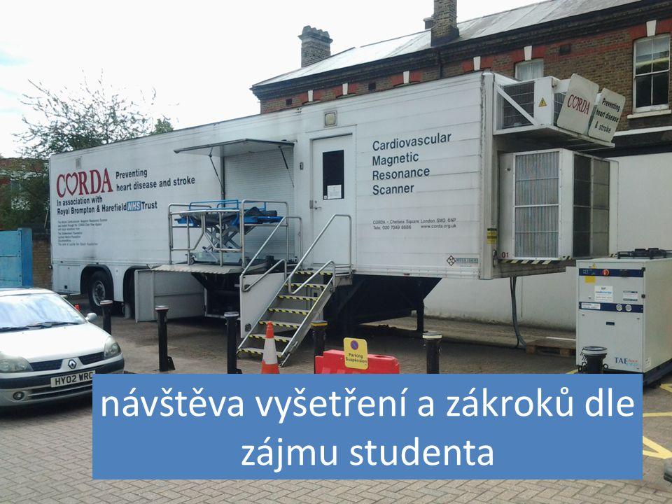návštěva vyšetření a zákroků dle zájmu studenta