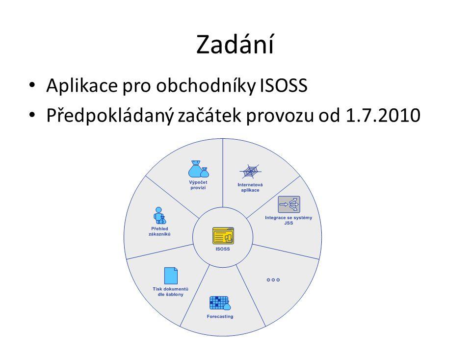 Zadání Aplikace pro obchodníky ISOSS Předpokládaný začátek provozu od 1.7.2010