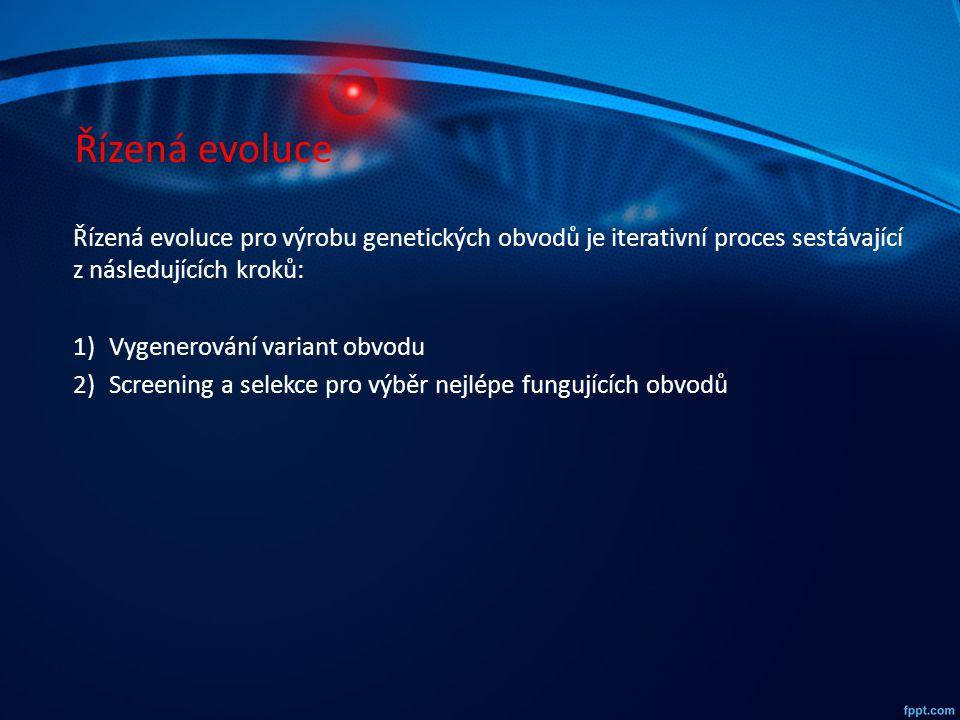 Řízená evoluce Řízená evoluce pro výrobu genetických obvodů je iterativní proces sestávající z následujících kroků: 1)Vygenerování variant obvodu 2)Sc