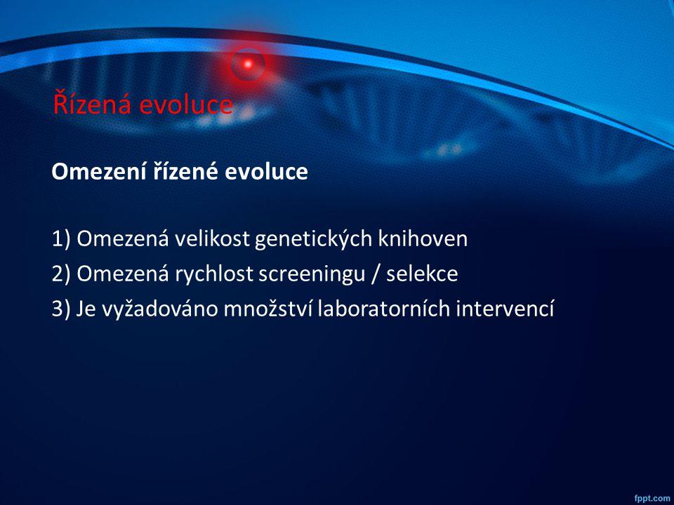 Řízená evoluce Omezení řízené evoluce 1) Omezená velikost genetických knihoven 2) Omezená rychlost screeningu / selekce 3) Je vyžadováno množství labo