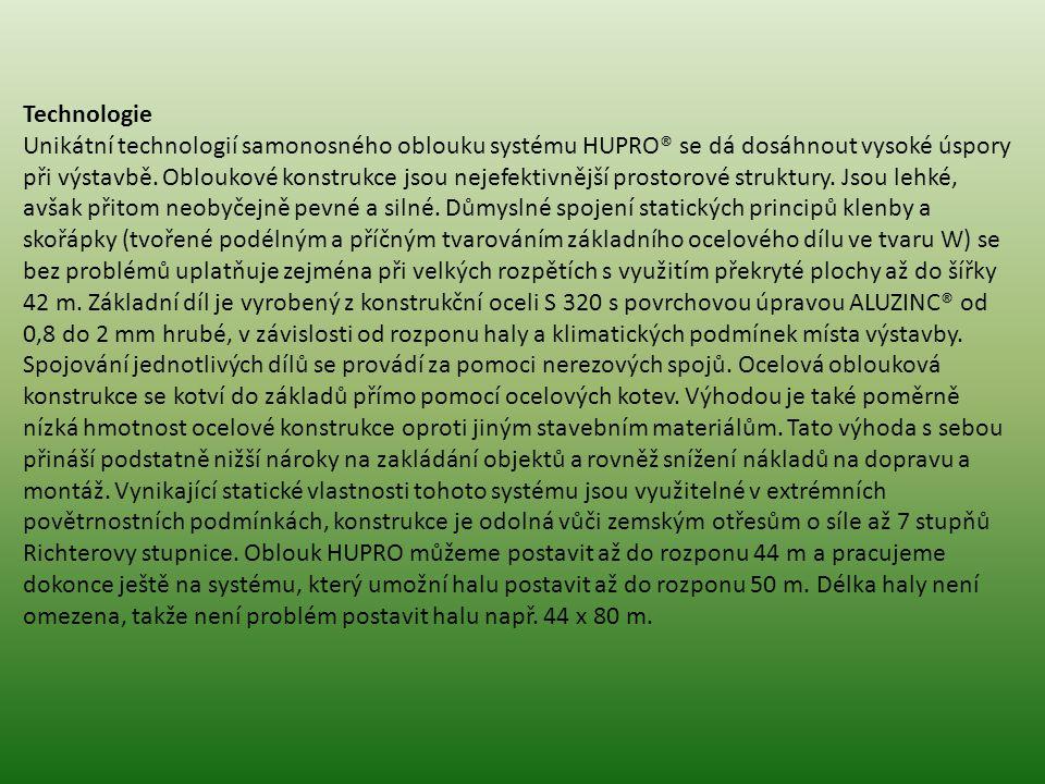 Technologie Unikátní technologií samonosného oblouku systému HUPRO® se dá dosáhnout vysoké úspory při výstavbě. Obloukové konstrukce jsou nejefektivně