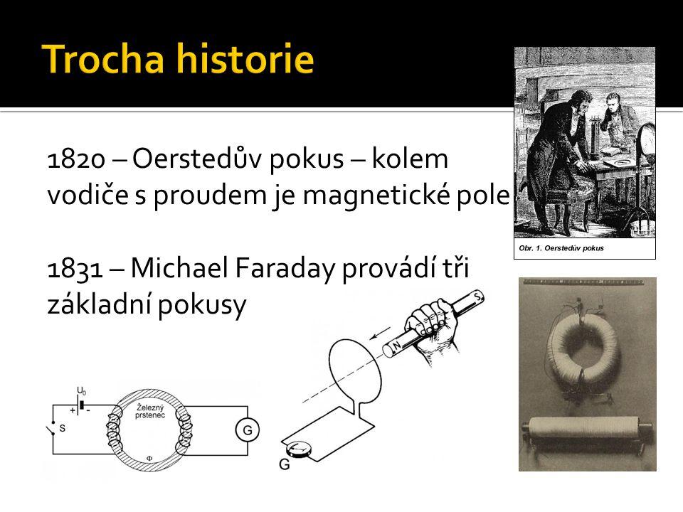 1820 – Oerstedův pokus – kolem vodiče s proudem je magnetické pole 1831 – Michael Faraday provádí tři základní pokusy