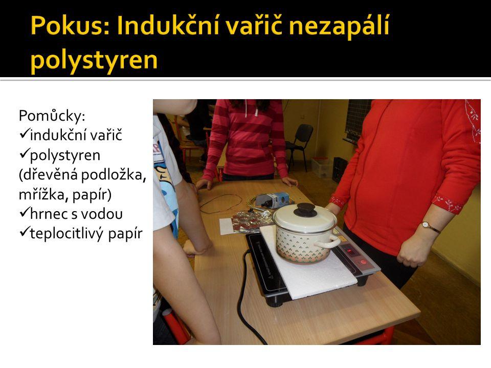Pomůcky: indukční vařič polystyren (dřevěná podložka, mřížka, papír) hrnec s vodou teplocitlivý papír