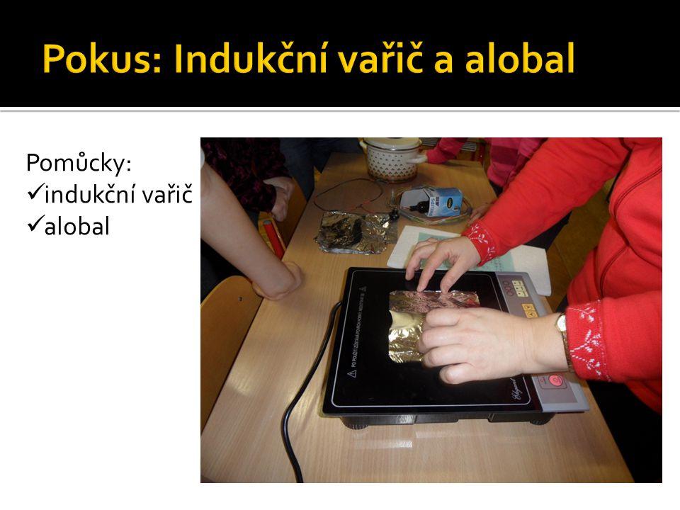 Pomůcky: indukční vařič alobal