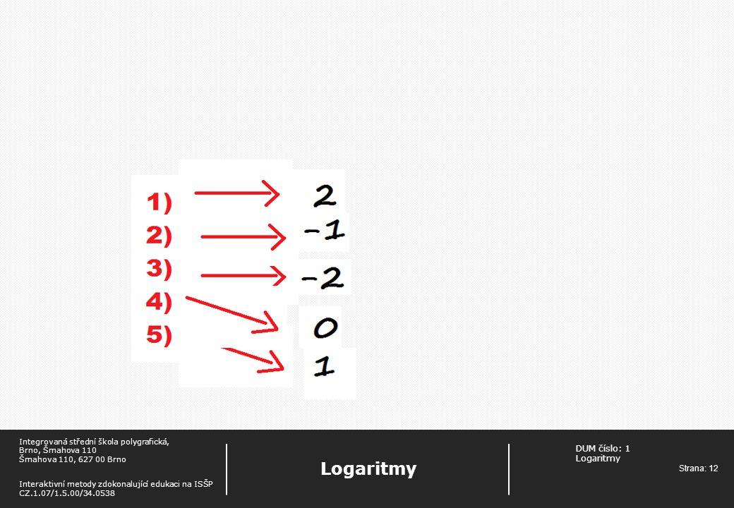 DUM číslo: 1 Logaritmy Strana: 12 Logaritmy Integrovaná střední škola polygrafická, Brno, Šmahova 110 Šmahova 110, 627 00 Brno Interaktivní metody zdokonalující edukaci na ISŠP CZ.1.07/1.5.00/34.0538