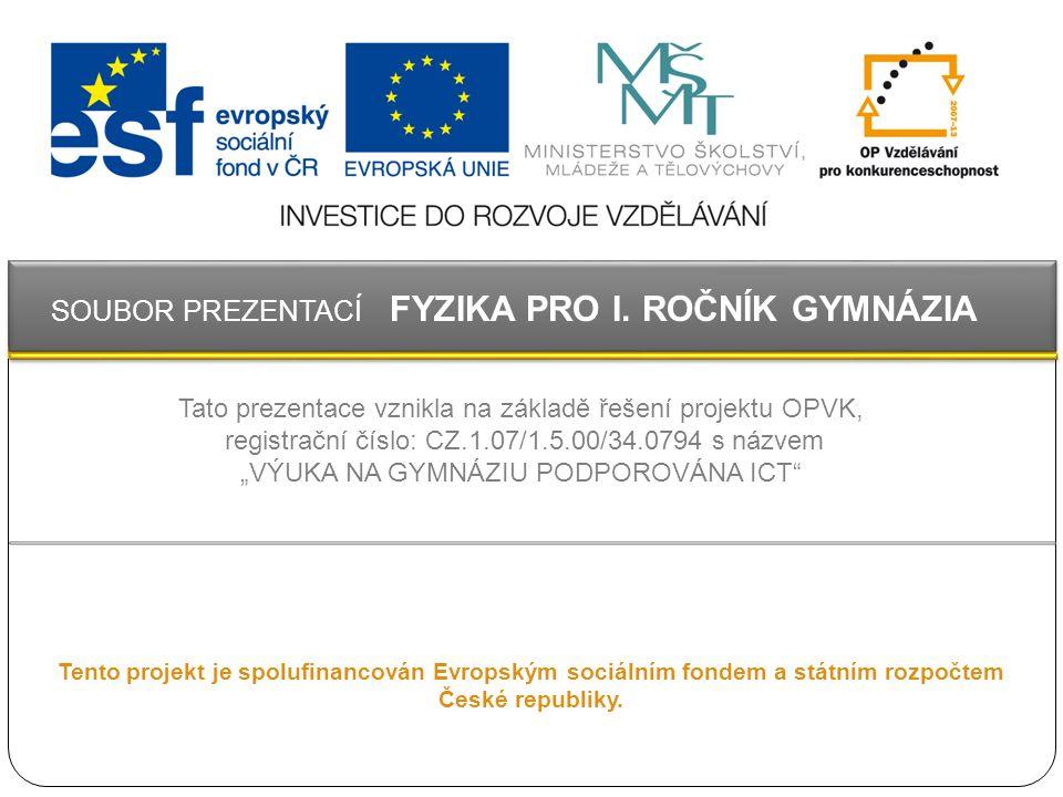 Tento projekt je spolufinancován Evropským sociálním fondem a státním rozpočtem České republiky. Tato prezentace vznikla na základě řešení projektu OP