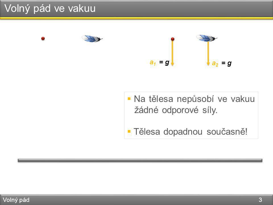 Volný pád ve vakuu Volný pád 3 a 1 = g a 2 = g  Na tělesa nepůsobí ve vakuu žádné odporové síly.