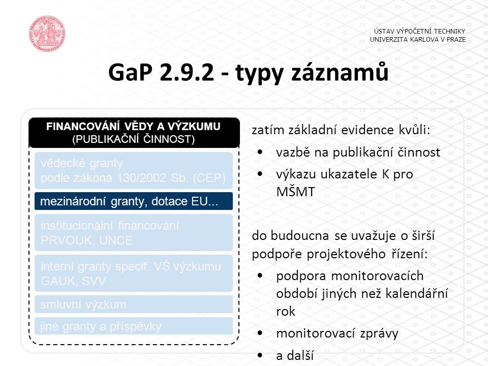 GaP 2.9.2 - typy záznamů ÚSTAV VÝPOČETNÍ TECHNIKY UNIVERZITA KARLOVA V PRAZE FINANCOVÁNÍ VĚDY A VÝZKUMU (PUBLIKAČNÍ ČINNOST) vědecké granty podle záko