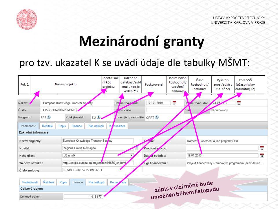 Mezinárodní granty pro tzv. ukazatel K se uvádí údaje dle tabulky MŠMT: ÚSTAV VÝPOČETNÍ TECHNIKY UNIVERZITA KARLOVA V PRAZE zápis v cizí měně bude umo