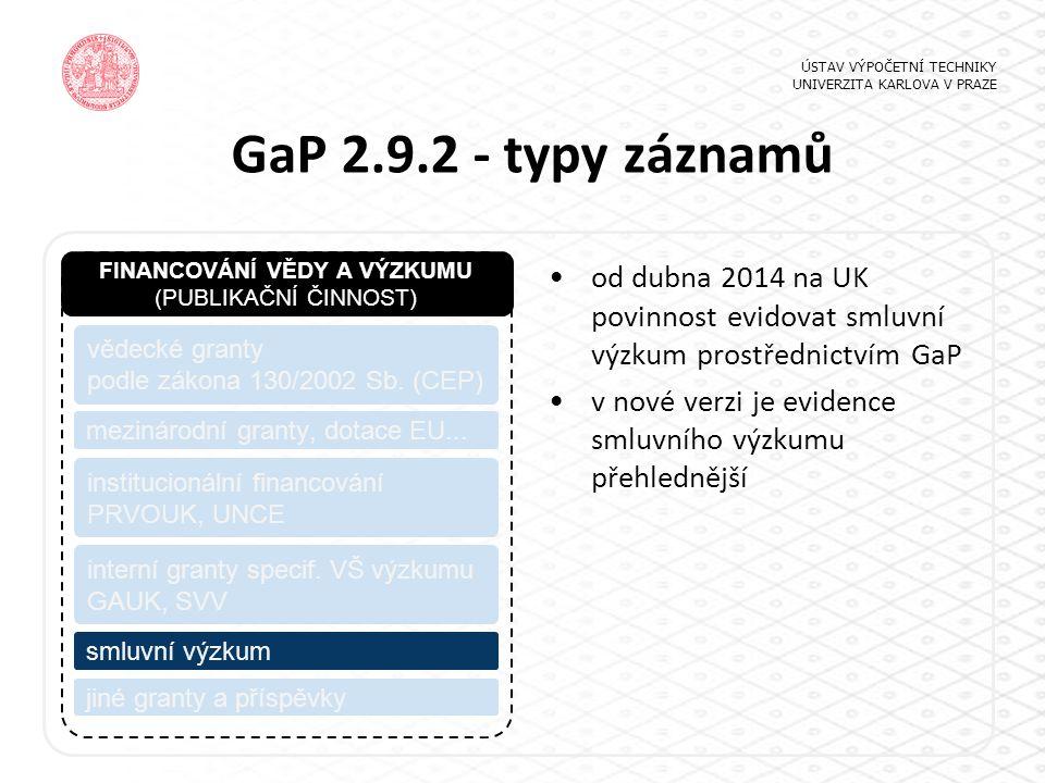 GaP 2.9.2 - typy záznamů ÚSTAV VÝPOČETNÍ TECHNIKY UNIVERZITA KARLOVA V PRAZE FINANCOVÁNÍ VĚDY A VÝZKUMU (PUBLIKAČNÍ ČINNOST) vědecké granty podle zákona 130/2002 Sb.