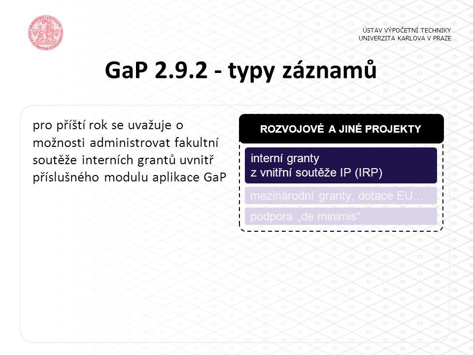 """GaP 2.9.2 - typy záznamů ÚSTAV VÝPOČETNÍ TECHNIKY UNIVERZITA KARLOVA V PRAZE ROZVOJOVÉ A JINÉ PROJEKTY interní granty z vnitřní soutěže IP (IRP) podpora """"de minimis mezinárodní granty, dotace EU..."""