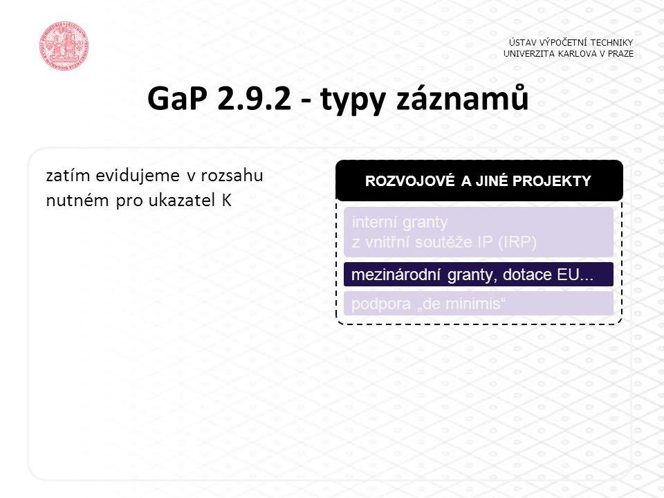 GaP 2.9.2 - typy záznamů ÚSTAV VÝPOČETNÍ TECHNIKY UNIVERZITA KARLOVA V PRAZE ROZVOJOVÉ A JINÉ PROJEKTY interní granty z vnitřní soutěže IP (IRP) podpo