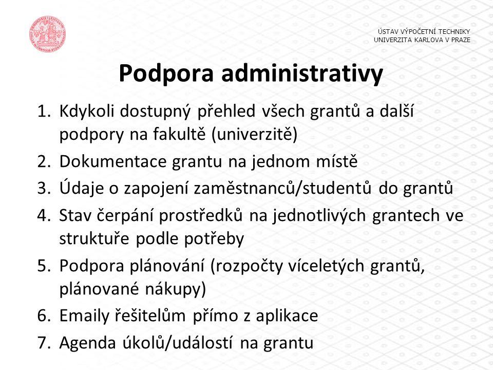 Podpora administrativy 1.Kdykoli dostupný přehled všech grantů a další podpory na fakultě (univerzitě) 2.Dokumentace grantu na jednom místě 3.Údaje o