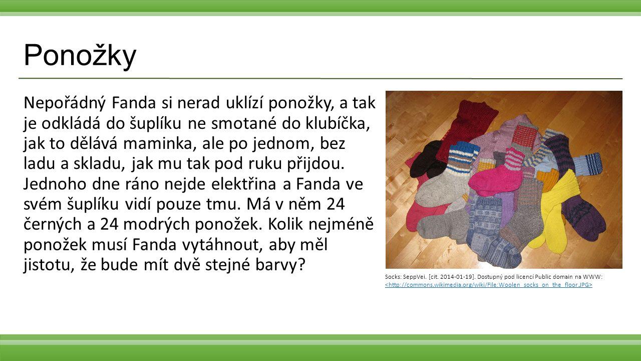 Ponožky Nepořádný Fanda si nerad uklízí ponožky, a tak je odkládá do šuplíku ne smotané do klubíčka, jak to dělává maminka, ale po jednom, bez ladu a