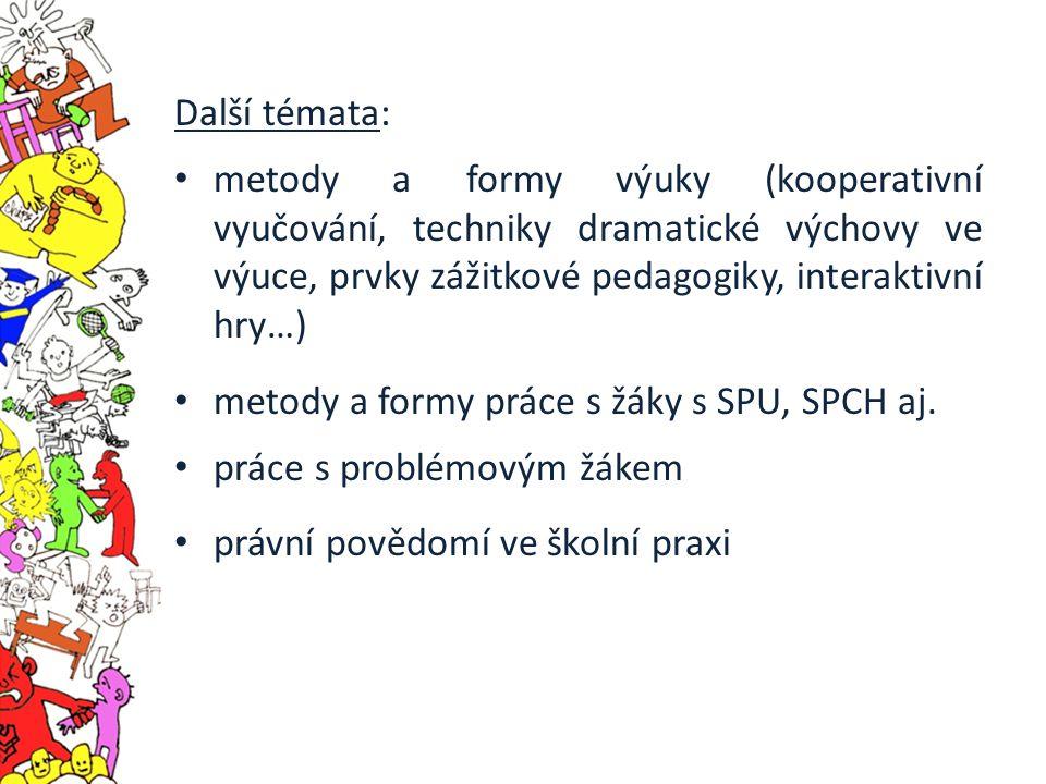 Další témata: metody a formy výuky (kooperativní vyučování, techniky dramatické výchovy ve výuce, prvky zážitkové pedagogiky, interaktivní hry…) metody a formy práce s žáky s SPU, SPCH aj.