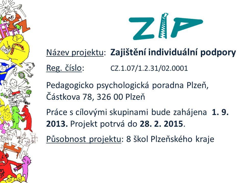 Název projektu: Zajištění individuální podpory Reg. číslo: CZ.1.07/1.2.31/02.0001 Pedagogicko psychologická poradna Plzeň, Částkova 78, 326 00 Plzeň P
