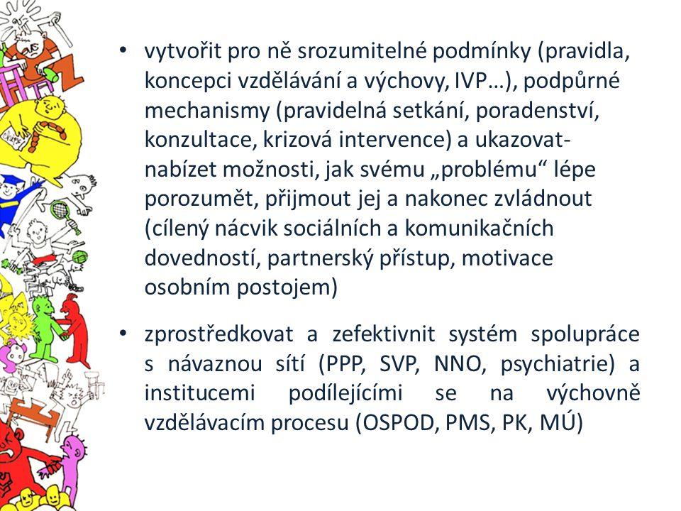 """vytvořit pro ně srozumitelné podmínky (pravidla, koncepci vzdělávání a výchovy, IVP…), podpůrné mechanismy (pravidelná setkání, poradenství, konzultace, krizová intervence) a ukazovat- nabízet možnosti, jak svému """"problému lépe porozumět, přijmout jej a nakonec zvládnout (cílený nácvik sociálních a komunikačních dovedností, partnerský přístup, motivace osobním postojem) zprostředkovat a zefektivnit systém spolupráce s návaznou sítí (PPP, SVP, NNO, psychiatrie) a institucemi podílejícími se na výchovně vzdělávacím procesu (OSPOD, PMS, PK, MÚ)"""