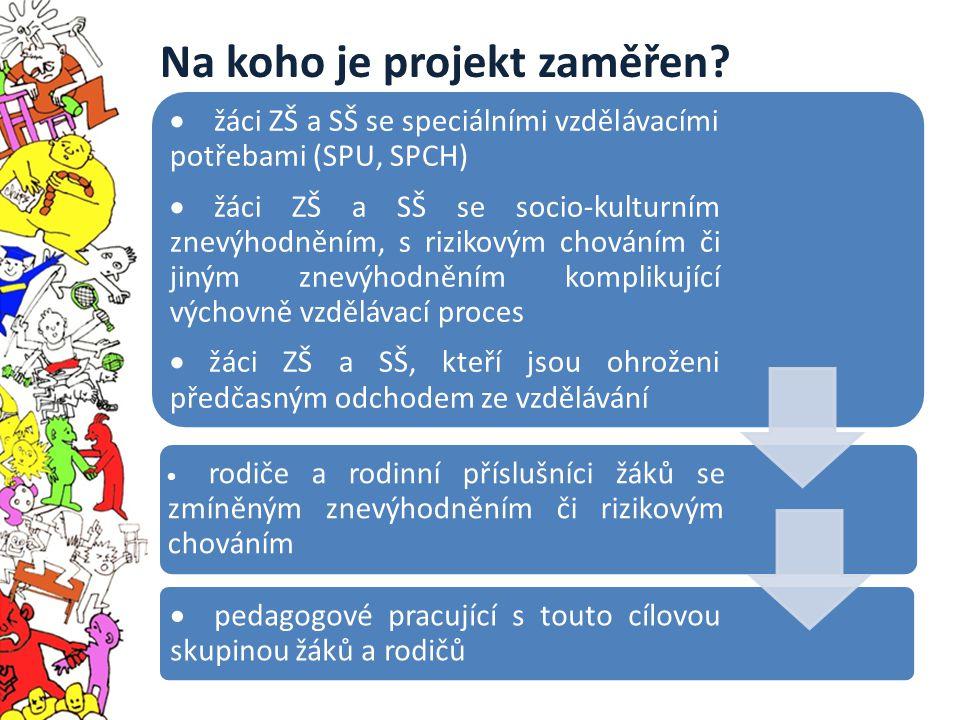 Na koho je projekt zaměřen?  žáci ZŠ a SŠ se speciálními vzdělávacími potřebami (SPU, SPCH)  žáci ZŠ a SŠ se socio-kulturním znevýhodněním, s riziko