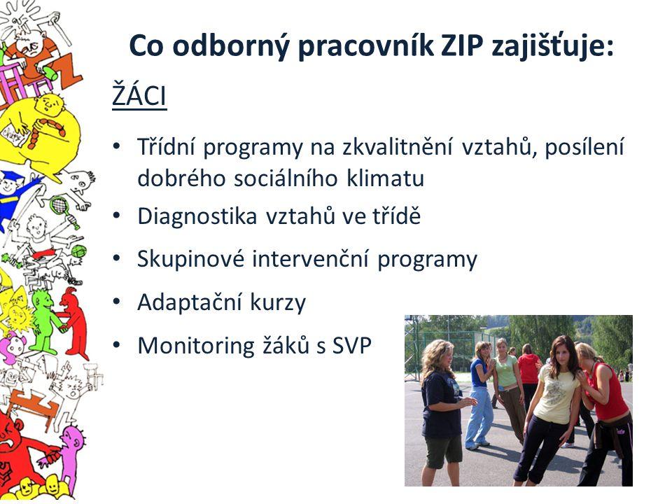 Co odborný pracovník ZIP zajišťuje: ŽÁCI Třídní programy na zkvalitnění vztahů, posílení dobrého sociálního klimatu Diagnostika vztahů ve třídě Skupinové intervenční programy Adaptační kurzy Monitoring žáků s SVP