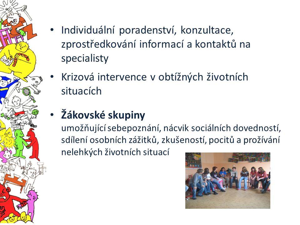 Individuální poradenství, konzultace, zprostředkování informací a kontaktů na specialisty Krizová intervence v obtížných životních situacích Žákovské