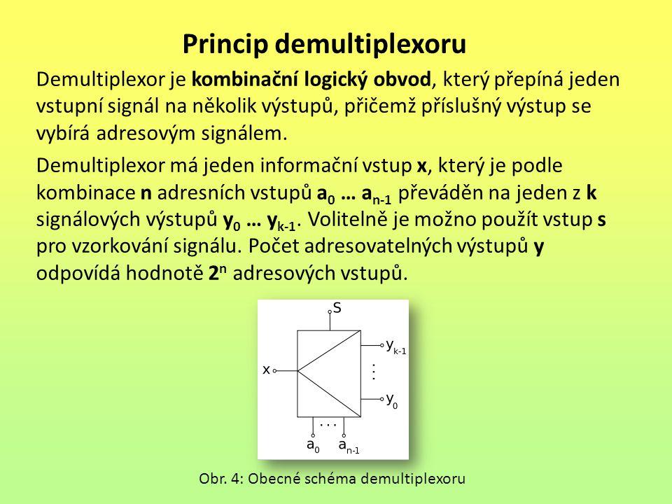 Princip demultiplexoru Demultiplexor je kombinační logický obvod, který přepíná jeden vstupní signál na několik výstupů, přičemž příslušný výstup se v