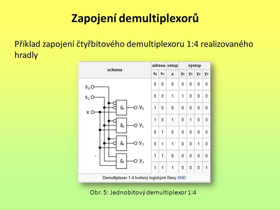 Zapojení demultiplexorů Příklad zapojení čtyřbitového demultiplexoru 1:4 realizovaného hradly Obr. 5: Jednobitový demultiplexor 1:4
